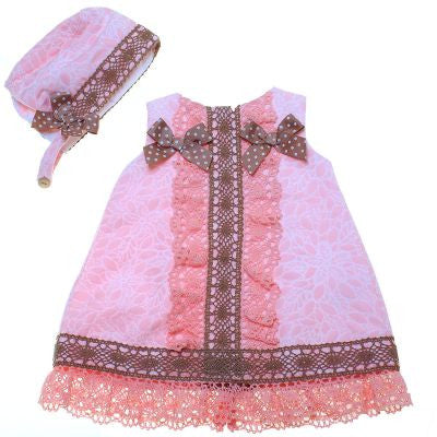 Dolce Petit Pink & Camel Baby Dress with Bonnet