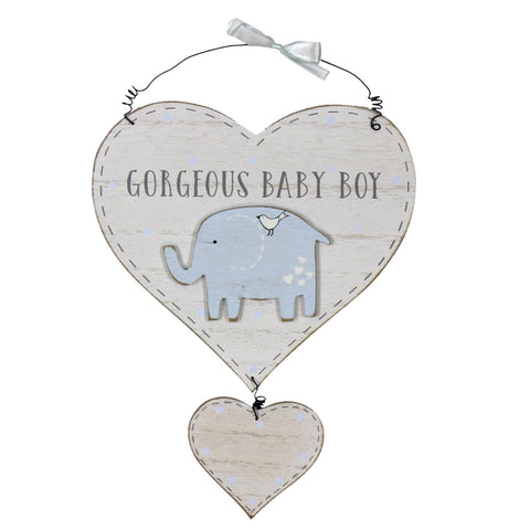 Wooden Baby Boy Double Heart Wall Plaque