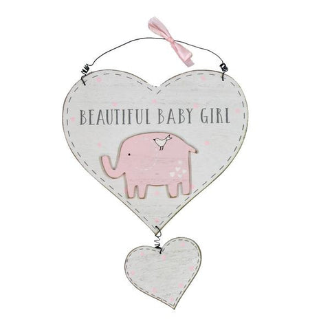 Wooden Baby Girl Double Heart Wall Plaque