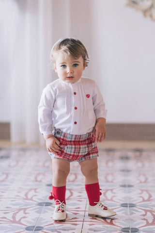 Dolce Petit Red & Grey Check Short Set 2140/23