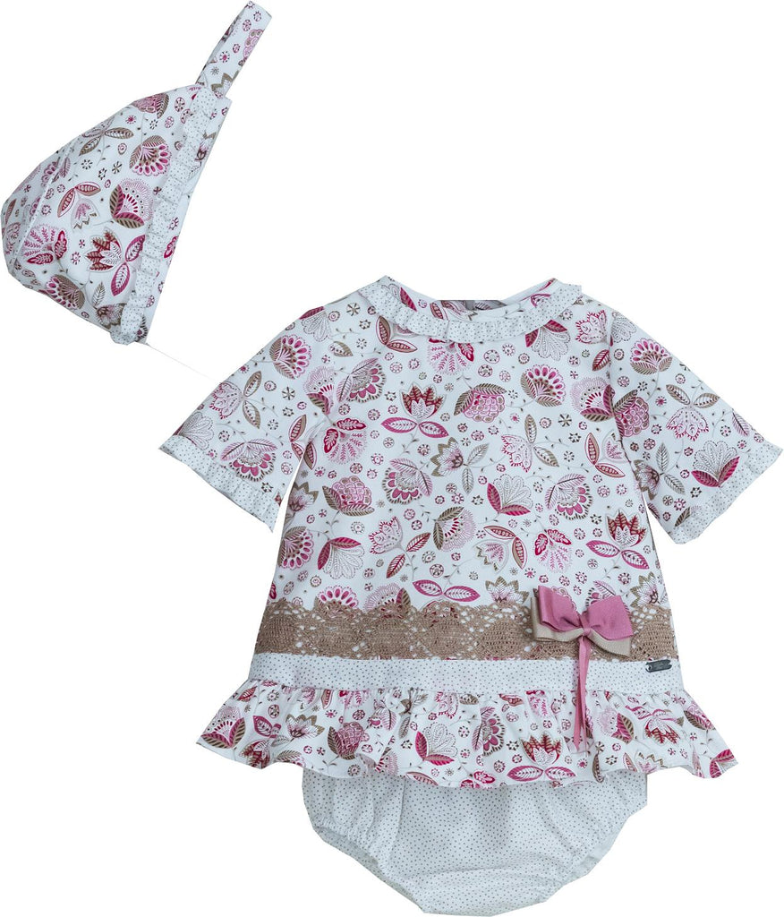 Dolce Petit Girls Floral Dress Pants and Bonnet