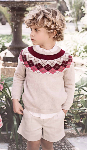 Dolce Petit Boys Burgandy, Pink & Cream Jumper (2245-J)