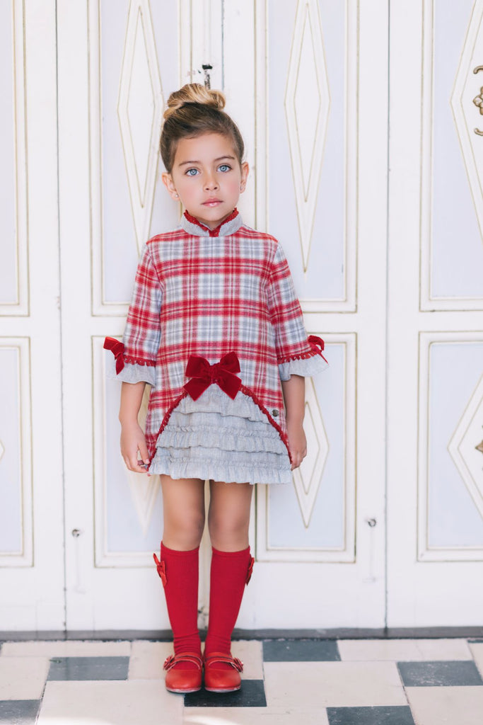 Dolce Petit Girls Red White & Grey Check Dress (2241-V)