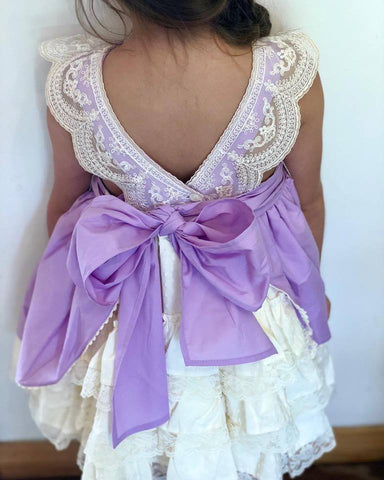Dulce Bebe Lilac & Cream Lace Spanish Dress