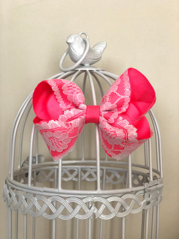 Hot Pink Vintage Lace Bow