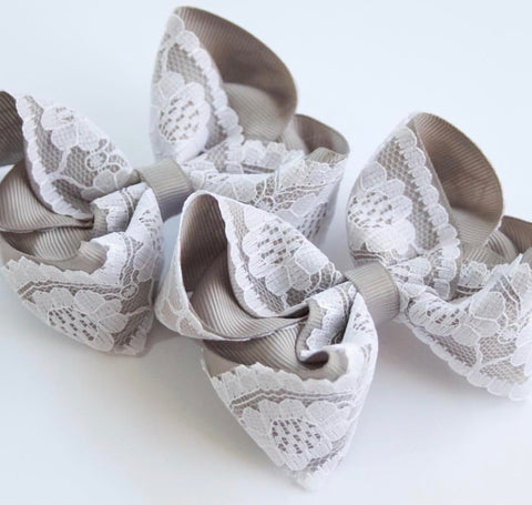 Grey Vintage Lace Bow