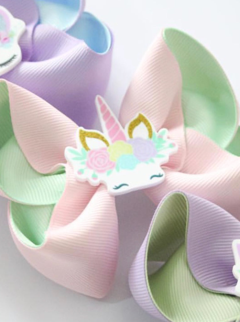 Sleepy Unicorn Pink & Seafoam Bow
