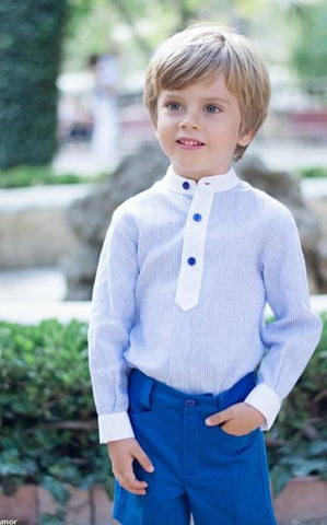 Dolce Petit Boys Blue Shirt with Royal Blue Shorts