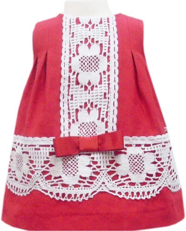 Miranda Red & White Lace Trim Dress