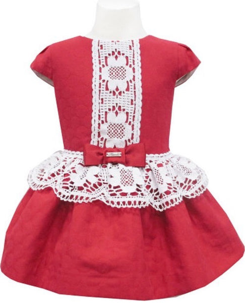 Miranda Red & White Drop Waist Dress