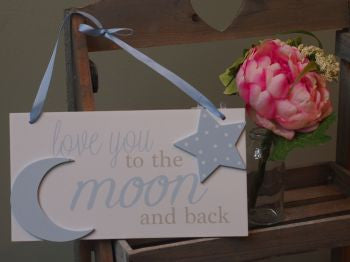 Blue Love you to the Moon rectangle plaque