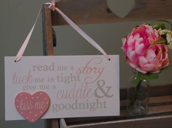 Pink Read me a Story, Tuck me in Tight Rectangular Plaque