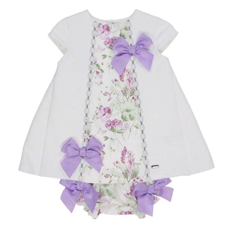 Dolce Petit Baby Girls Cream & Lilac Ribbon Dress & Knickers Set 2149-VB
