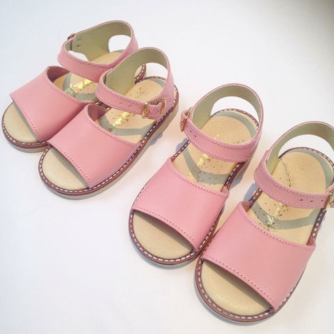 Pink Leather Spanish Sandals