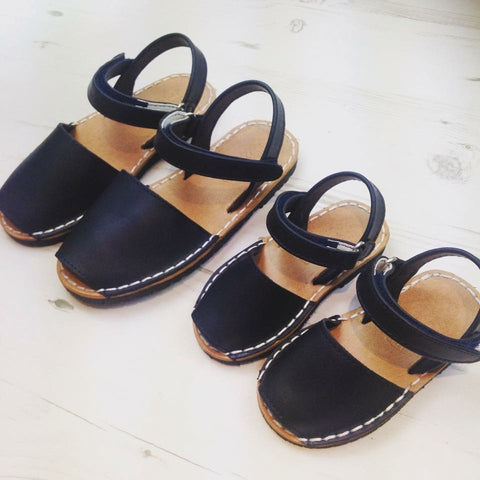 Navy Unisex Spanish Leather Sandals