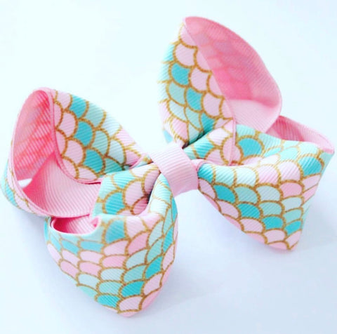 Mermaid Scale Pink and Aqua Bow