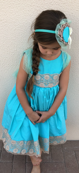 Aquamarine Polka Dot Dress with Camel Dress