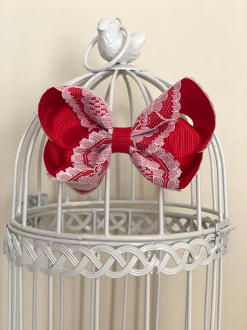 Poppy Red Vintage Lace Bow