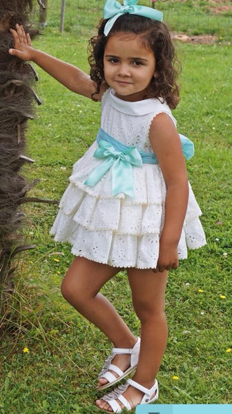Broderie Anglais Cream tiered Dress with Green Bow