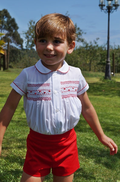 Sonata Boys White & Red Smocked Prince George set