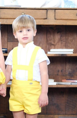 Yellow Boys H-Bar Set with matching White Shirt