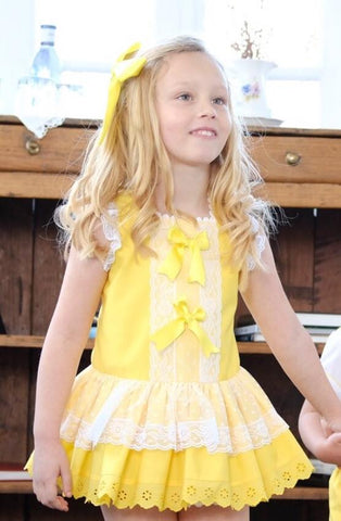 Yellow and White Drop Waist Dress