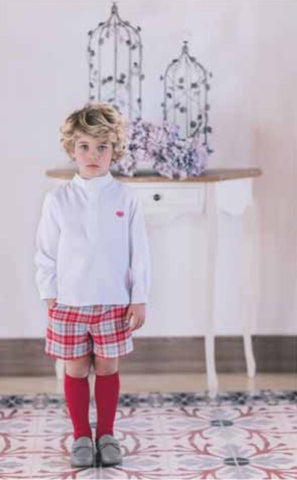 Dolce Petit Boys Red & Grey Check Short & Shirt Set (2241/23)