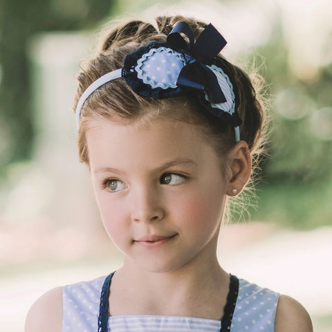 Dolce Petit Navy & White Stripe Matching Headband 2257-D