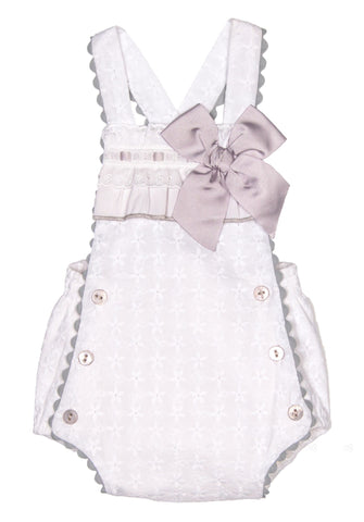 Dolce Petit White Romper with Soft Grey Bow