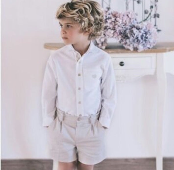 Dolce Petit Boys Cream Shorts and Shirt Set (2245-23)