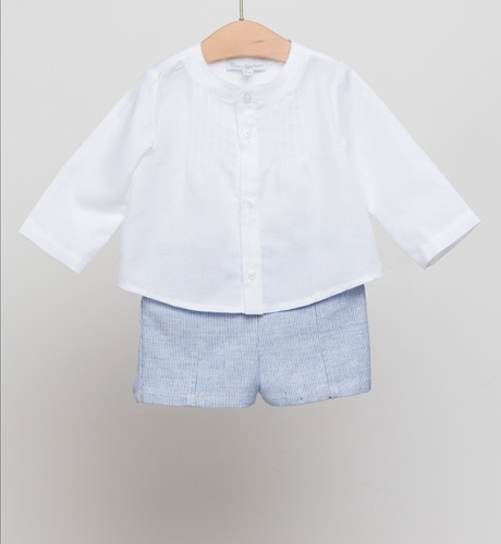 Fina Ejerique Boys White Pleated Dress Shirt & Blue Shorts