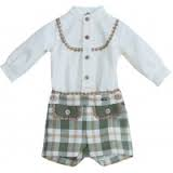 Dolce Petit Boys Green Check shirt & Shorts set