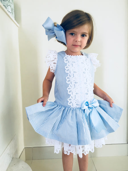 Sonata Blue Candy Stripe Dress with Lace trim