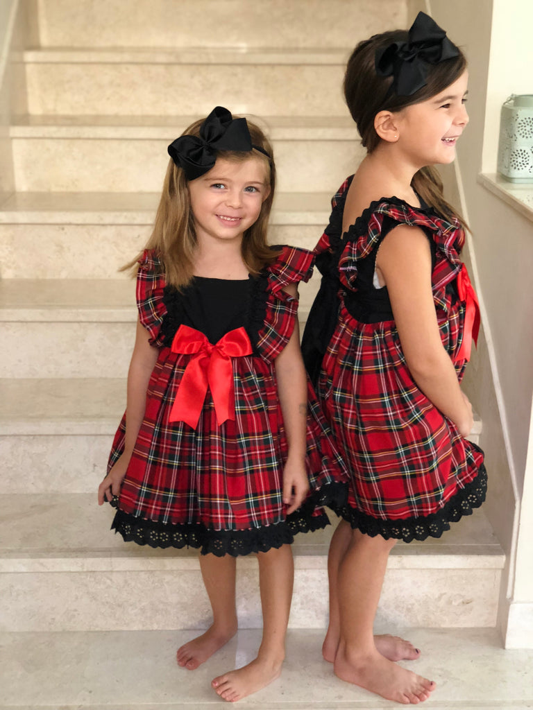 Tartan & Black Lace Puffball Dress