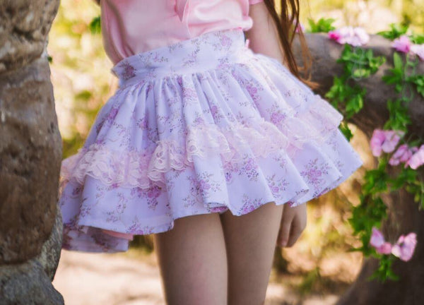 Dusky Pink Knit Jumper & matching Floral Skirt