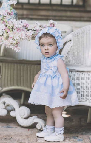 Dolce Petit SS18 Blue & White Spot Dress & Bonnet Set 2128-vgb