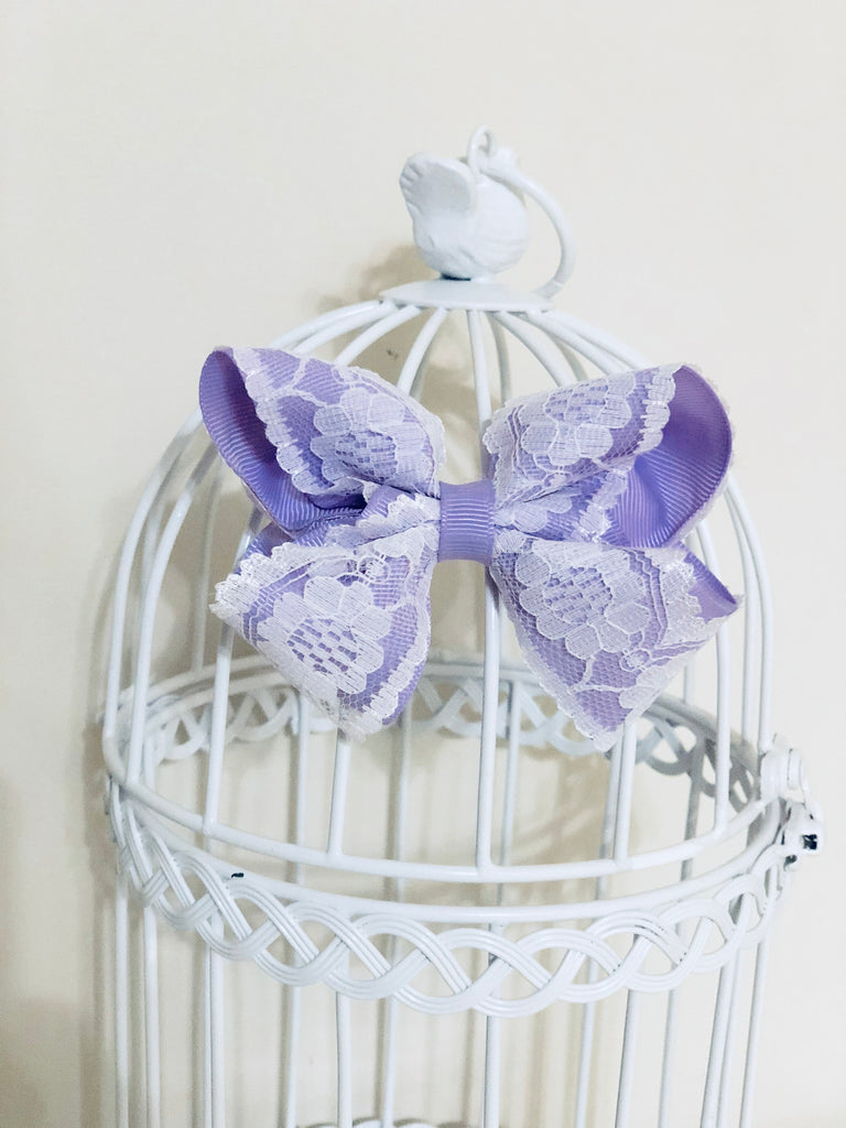 Lilac Vintage Lace Bow