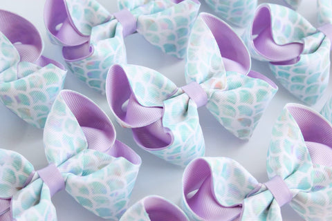 Mermaid Scale lilac and Aqua Bow