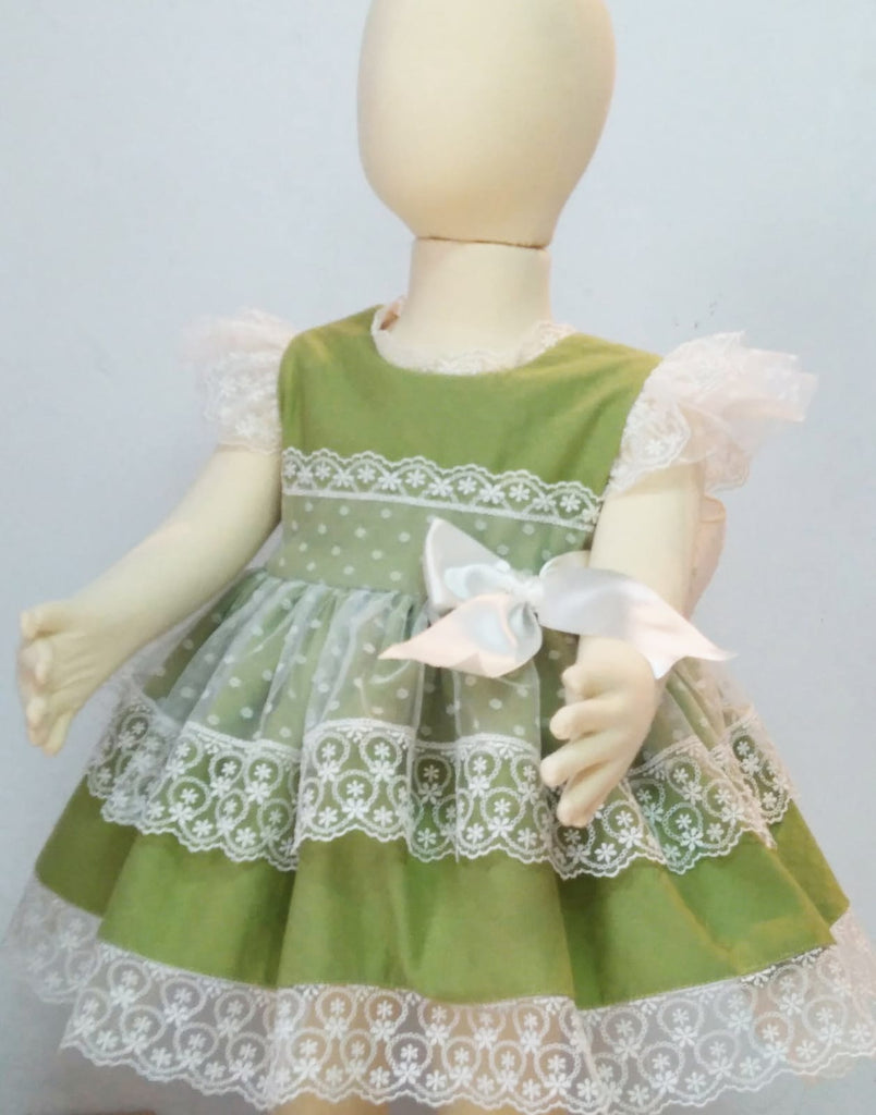 Olive & White Lace Puffball Dress