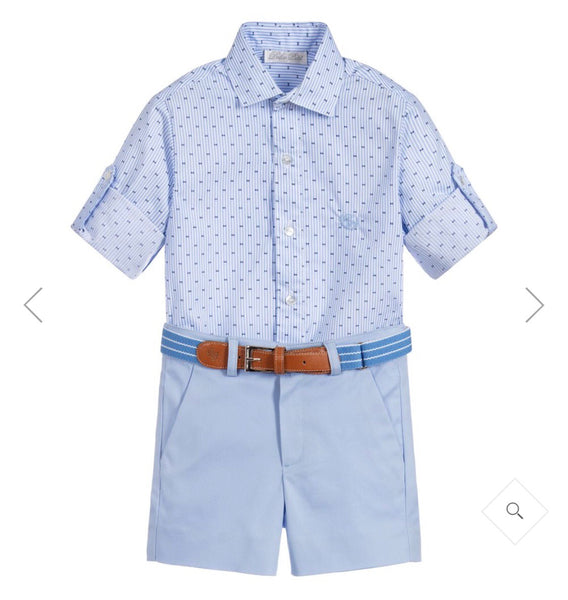 Dolce Petit Boys Baby Blue & White Pinstripe Shirt & Short Set