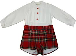 Miranda Boys White Shirt & Tarten Shorts Set (0149)