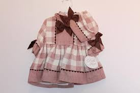 Dolce Petit Baby Dusky Pink and Beige Check Dress
