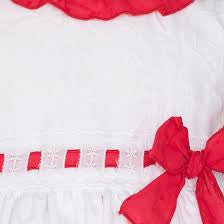 Dolce Petit White Dress with Red Bow