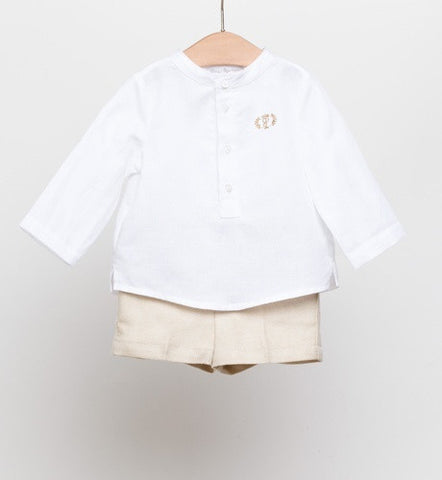 Fina Ejerique Boys White Shirt & Beige Shorts