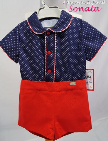 Boys Classic Red Short and Blue Shirt set