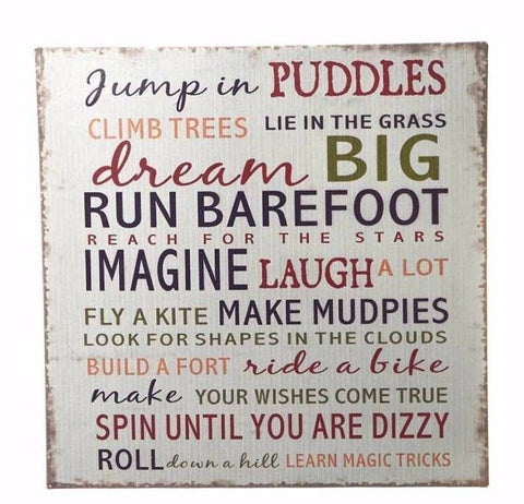 Jump in Puddles Metal Plaque