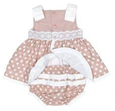 Dolce Petit Beige & White Polka Dot Dress with Bonnet and Pants