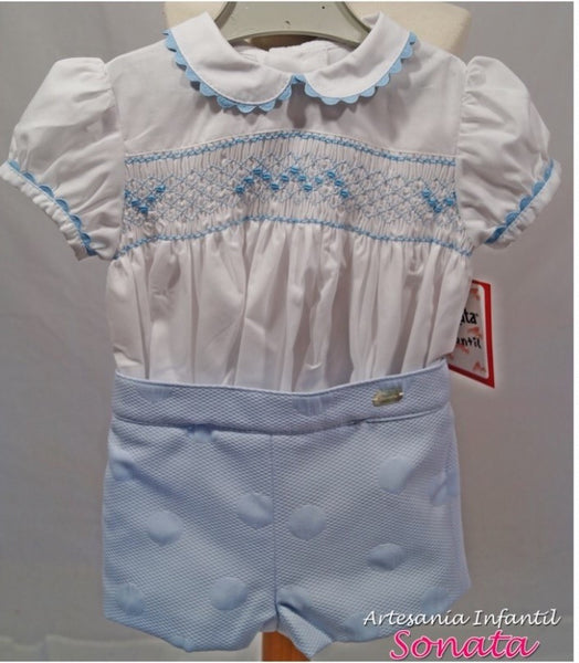 Sonata Boys White & Baby Blue Smocked Prince George set