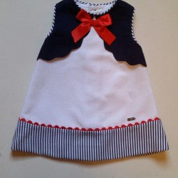 Dolce Petit White, Red & Navy Dress