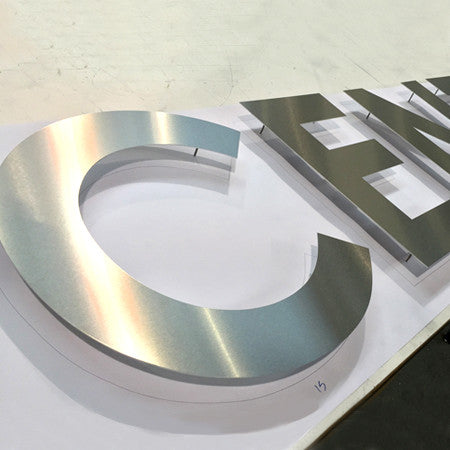 Brushed Stainless Steel Flat Cut Letters Signsaver